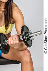 niña, dumbbells, joven, muscular