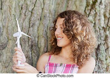 niña, el mirar, juguete, molino de viento, contra, tronco de...