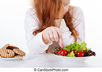 niña, elaboración, dieta sana, elecciones