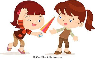 niña, elasticidad, paraguas, amigo