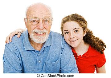 niña, ella, abuelito
