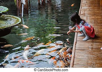niña, ella, amigo, comida, pez, poco