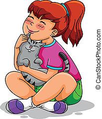 niña, ella, gato