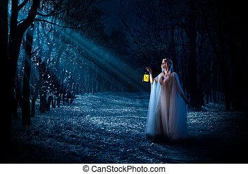 niña, elven, linterna, bosque, noche
