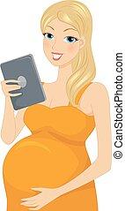 niña, embarazada, tableta, leer