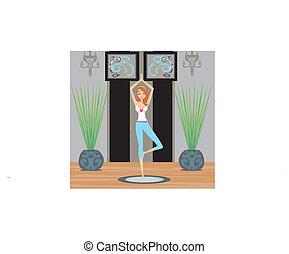 niña, en, actitud del yoga