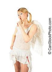 niña, en, angel\'s, disfraz, tiene, puesto, dedo, a, labios