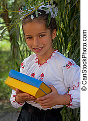 niña, en, bordado, libros, con, color, señalador ucraniano