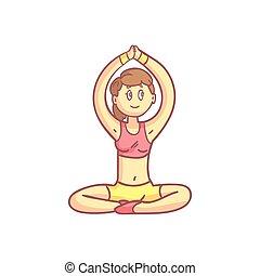niña, en, meditación, actitud del yoga