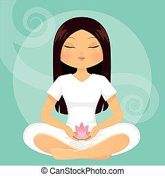 niña, en, meditación, postura