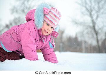 niña, en, nieve