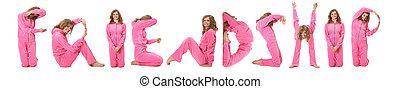 niña, en, rosa, ropa, elaboración, palabra, amistad, collage