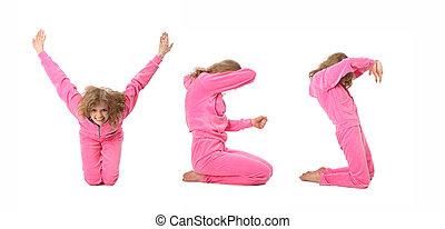 niña, en, rosa, ropa, elaboración, palabra, sí, collage
