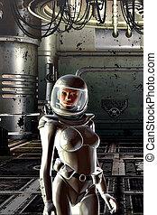 niña, en, traje espacial
