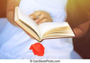 niña, en, un, amapola, campo, con, un, libro