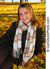 niña, en, un, otoño, parque