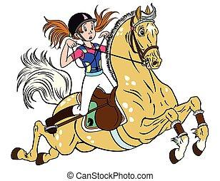 niña, en, un, poney, caballo