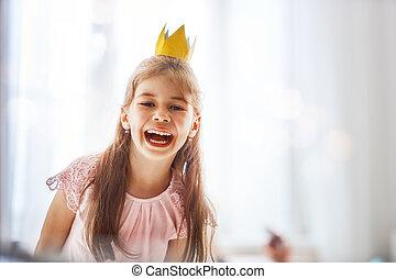 niña, en, un, princesa, disfraz