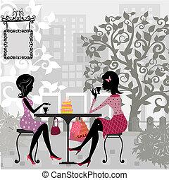 niña, en, un, verano, café, y, pastel