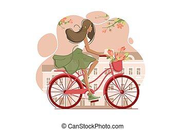niña, en, vendimia, bicicleta, con, flores