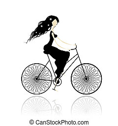 niña, en, vestido negro, ciclismo