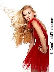 niña, en, vestido rojo