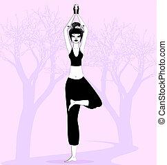 niña, en, yoga
