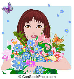 niña, enamorado, con, flores