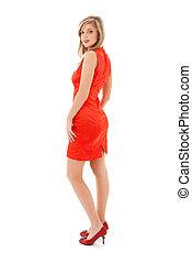 niña, encantador, vestido, rojo