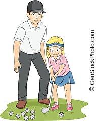 niña, entrenador, golf