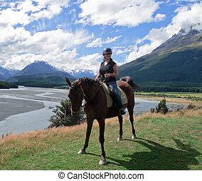 niña, equitación, caballo, en, nueva zelandia