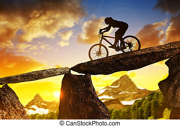 niña, equitación, un, bicicleta montaña, en, sunset.