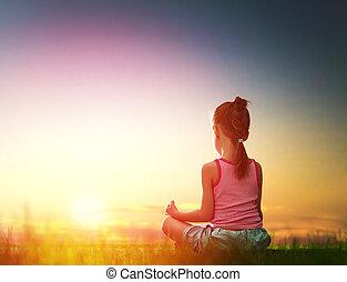 niña, es, practicar, yoga