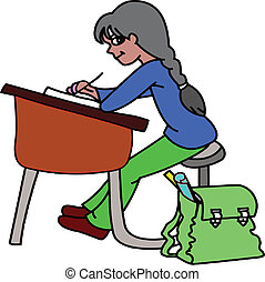 Ni a escritorio sentado ilustraci n escritorio ni a - Escritorio nina ...