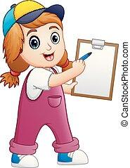 niña, escritura, en, un, portapapeles, con, pluma