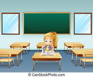 niña, escritura, espalda, vacío, tabla