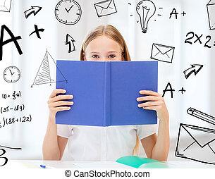 niña, estudiar, y, libro de lectura, en, escuela