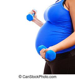 niña, expectante, condición física