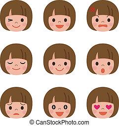 niña, expresión, facial