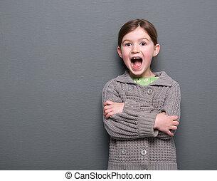 niña, expresión, reír, alegre