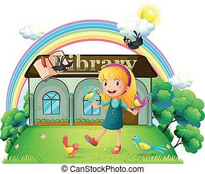 niña, exterior, bailando, aves, biblioteca