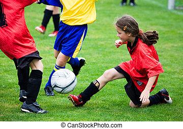 niña, fútbol, juego