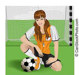 niña, fútbol, sentado