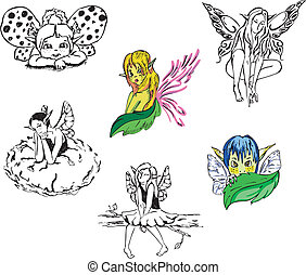 niña, fairies., vector, conjunto
