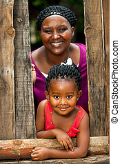 niña, feliz, mother., africano