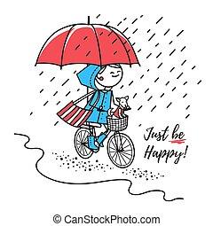 niña, feliz, paseos, debajo, bicicleta, paraguas rojo
