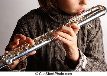 niña, flauta, juego