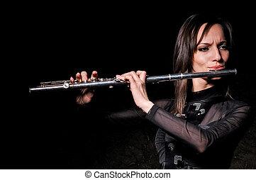 niña, flauta, juego, joven