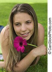 niña, flor