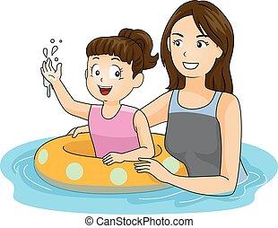 niña, flotador, niño, enseñar, mamá, nade
